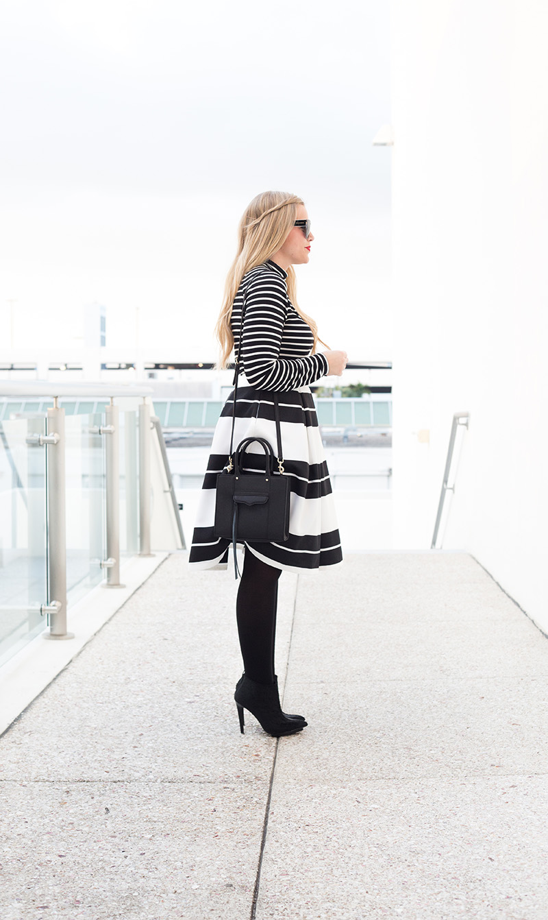black-and-white-stripe-midi-skirt