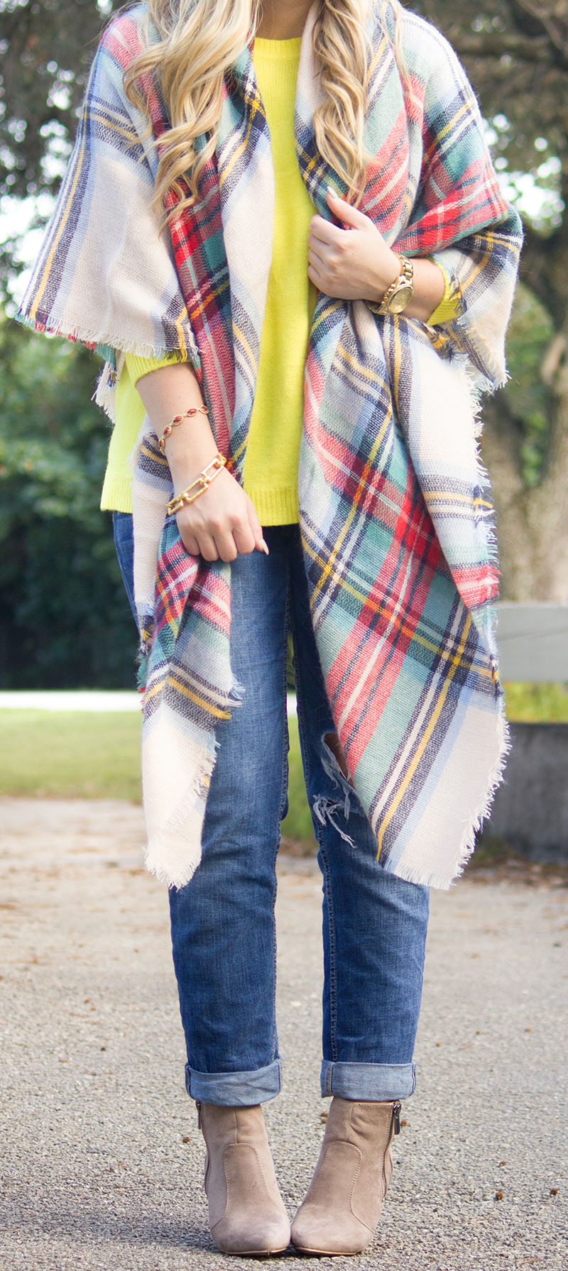 Neon Yellow Sweater + Blanket Scarf