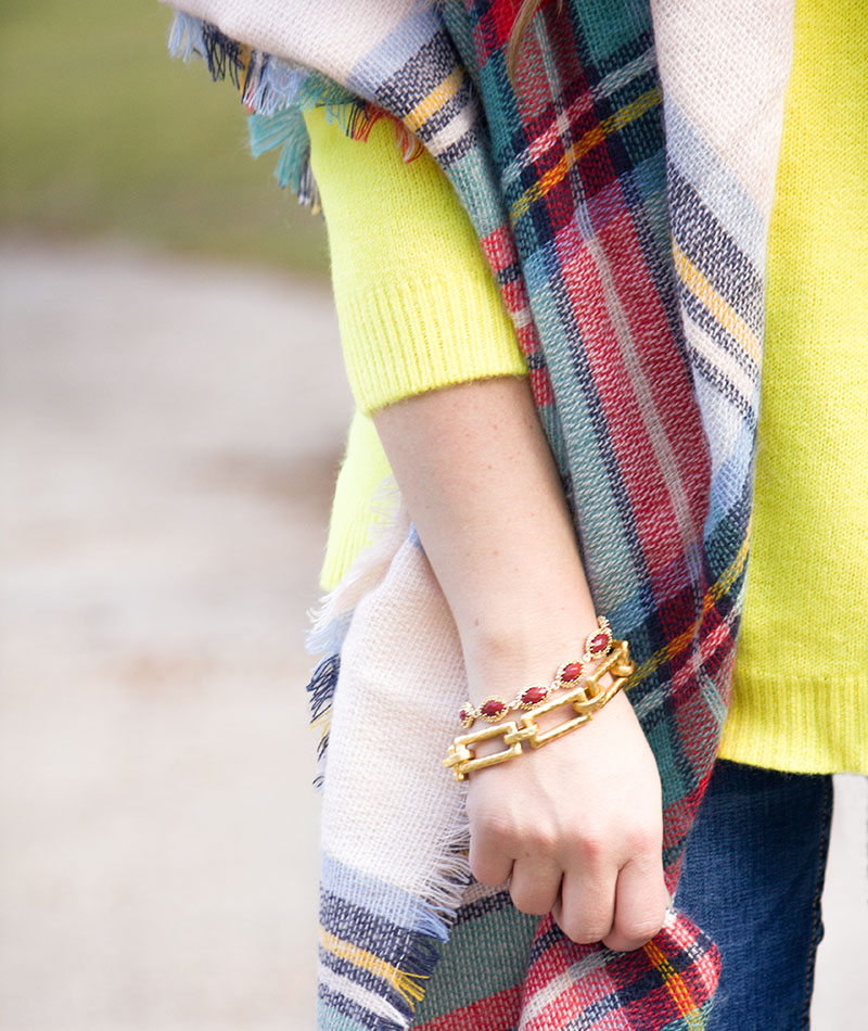 Neon + Plaid Blanket Scarf