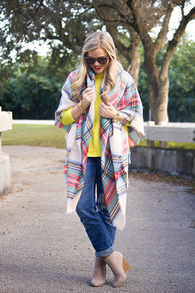 Neon-Yellow-Sweater-Plaid-Blanket-Scarf