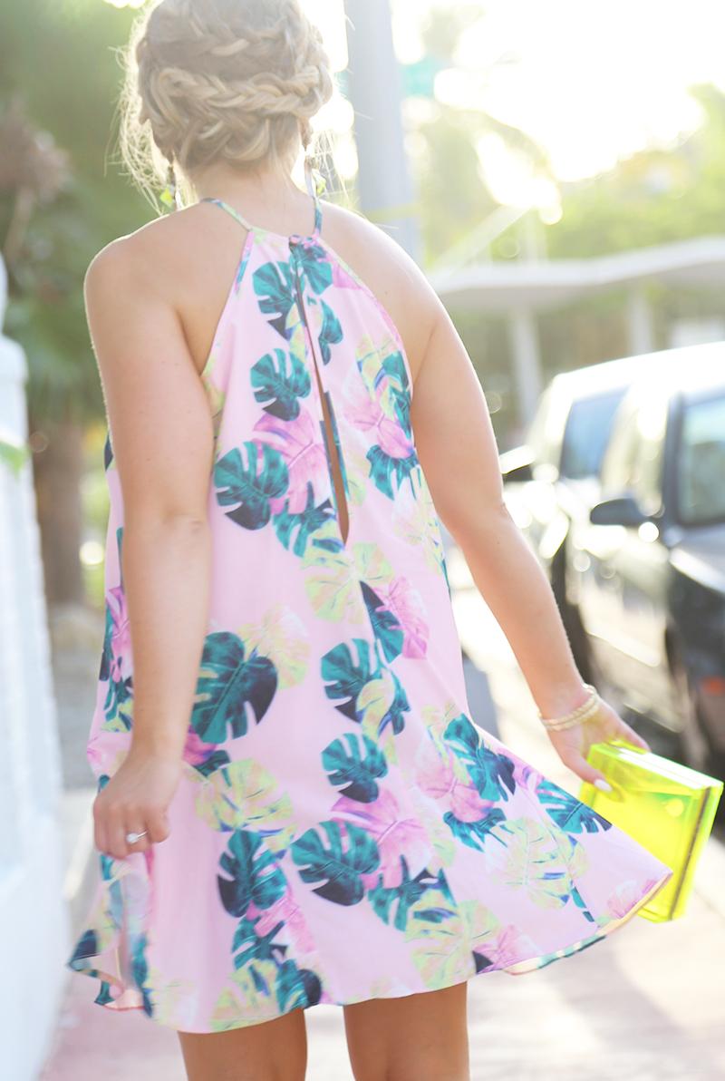 tropical palm print dress, whitney eve palm print dress