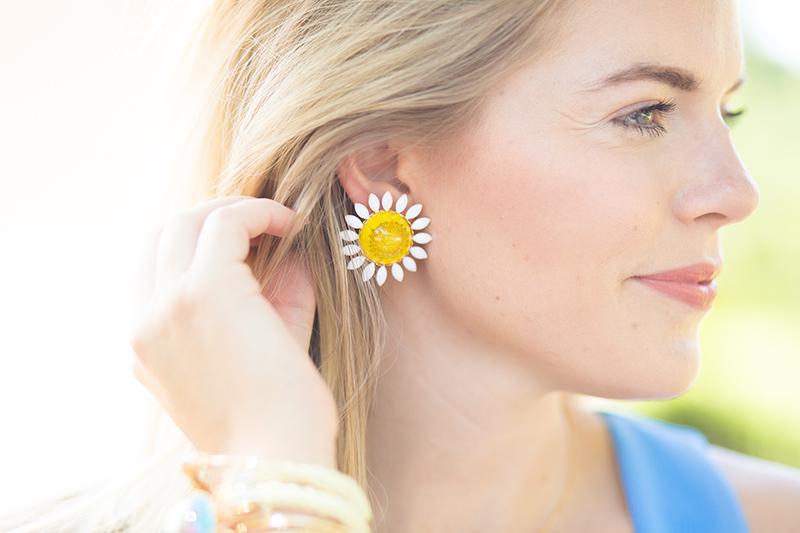 real sunflower earrings by Flower Moon