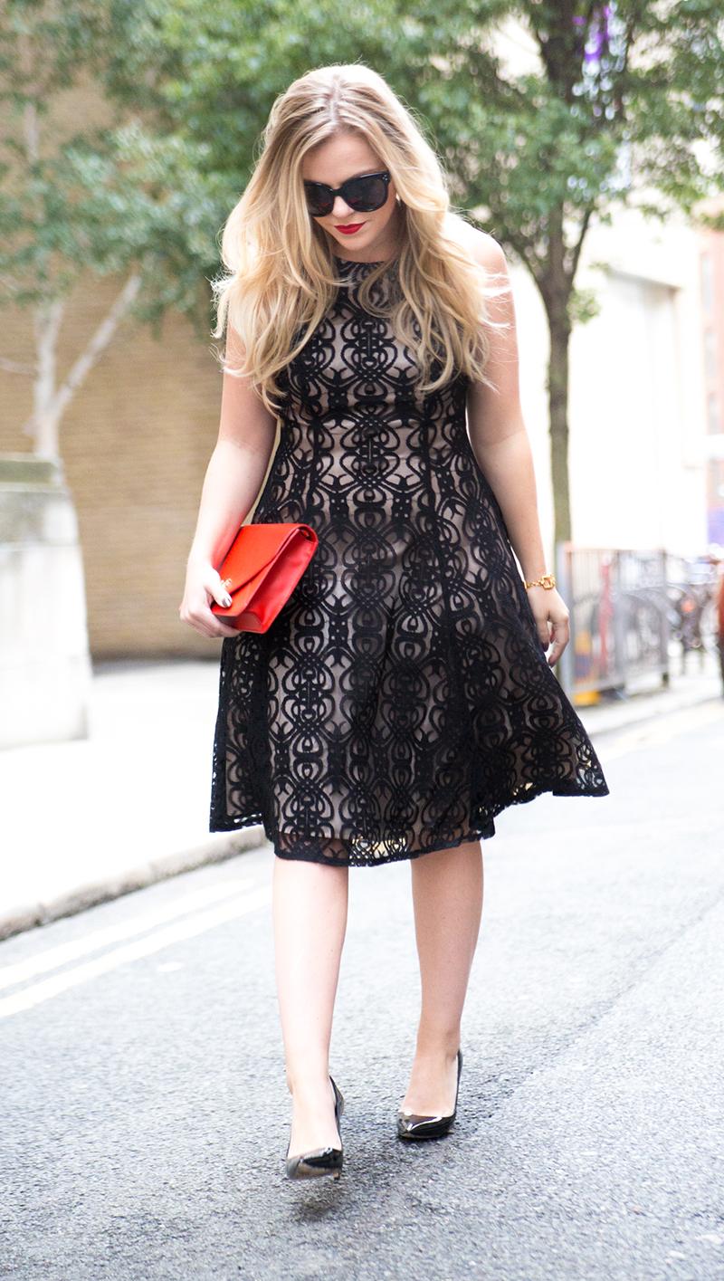 Black + Nude Lace Dress