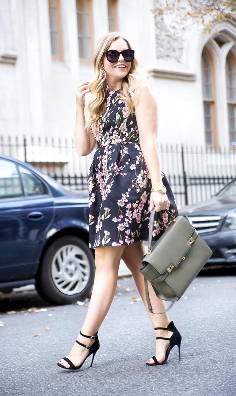 Fall floral fit and flare dress, olive henri bendel satchel