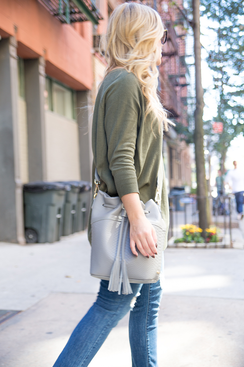 Olive Sweater + Blackless Mule Loafers