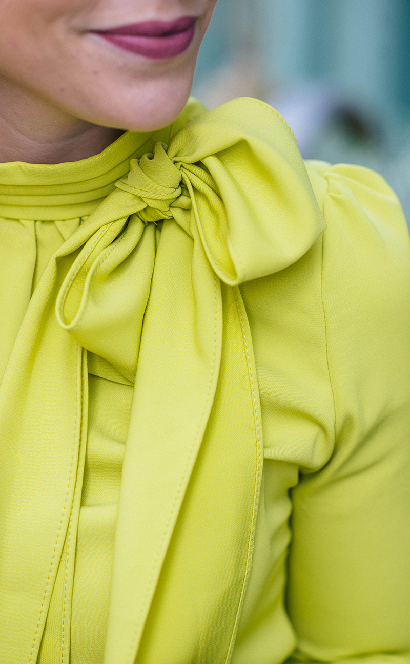 citron bow blouse