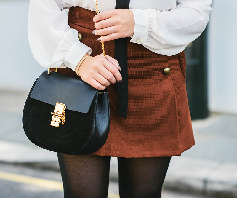 military mini skirt, cognac mini skirt
