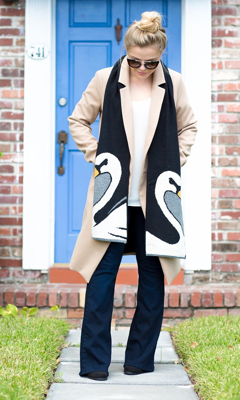 Swan Scarf, oasis camel coat