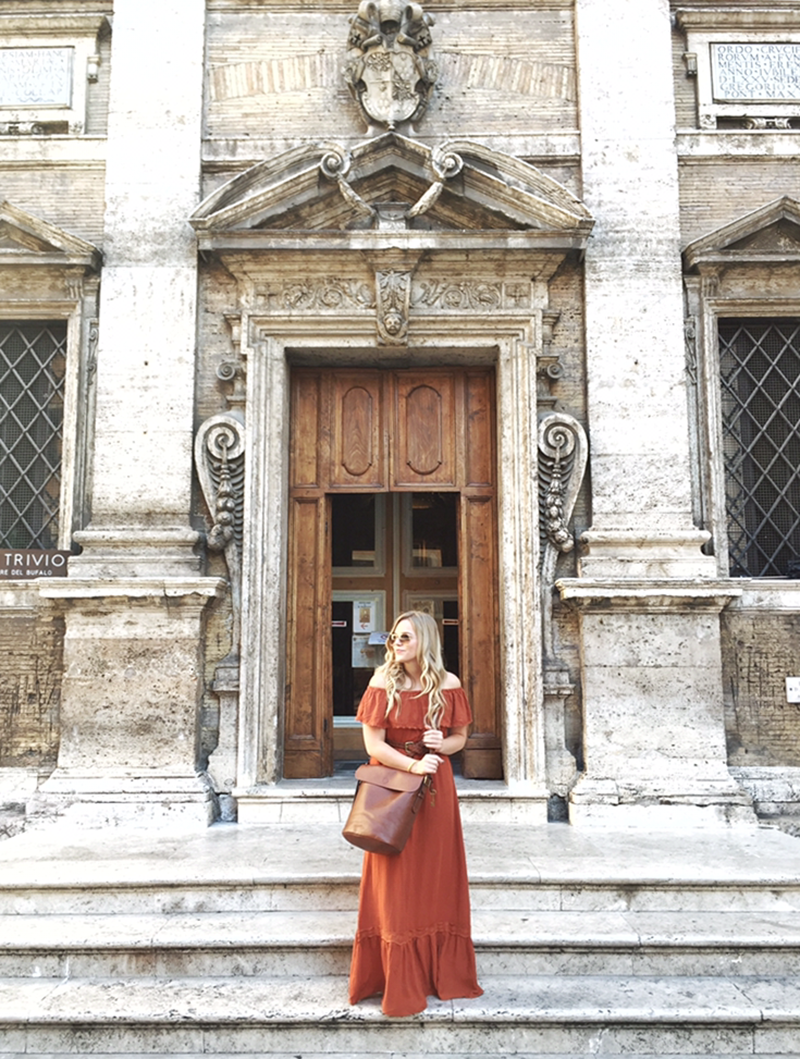rust colored maxi dress in rome