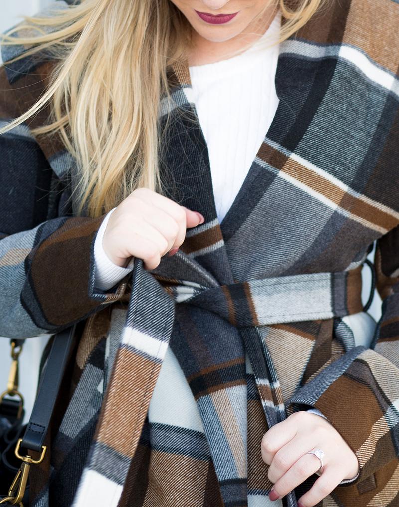 Autumn Colored Checkered Wrap Coat