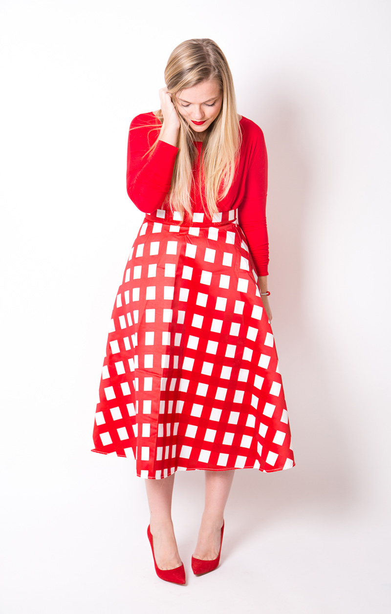 red checkered skirt, red on red outfit for the holidays