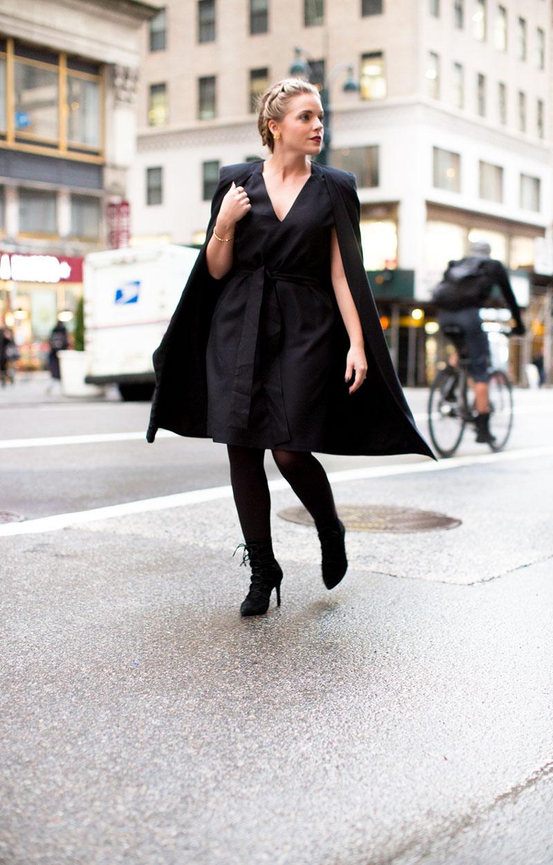 black cape dress, NYFW