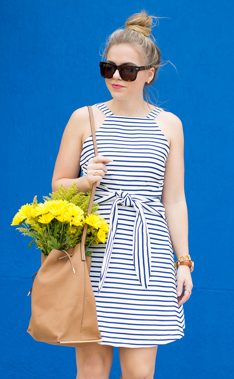 what to wear in napa valley, blue and white stripe dress, adidas neo sneakers