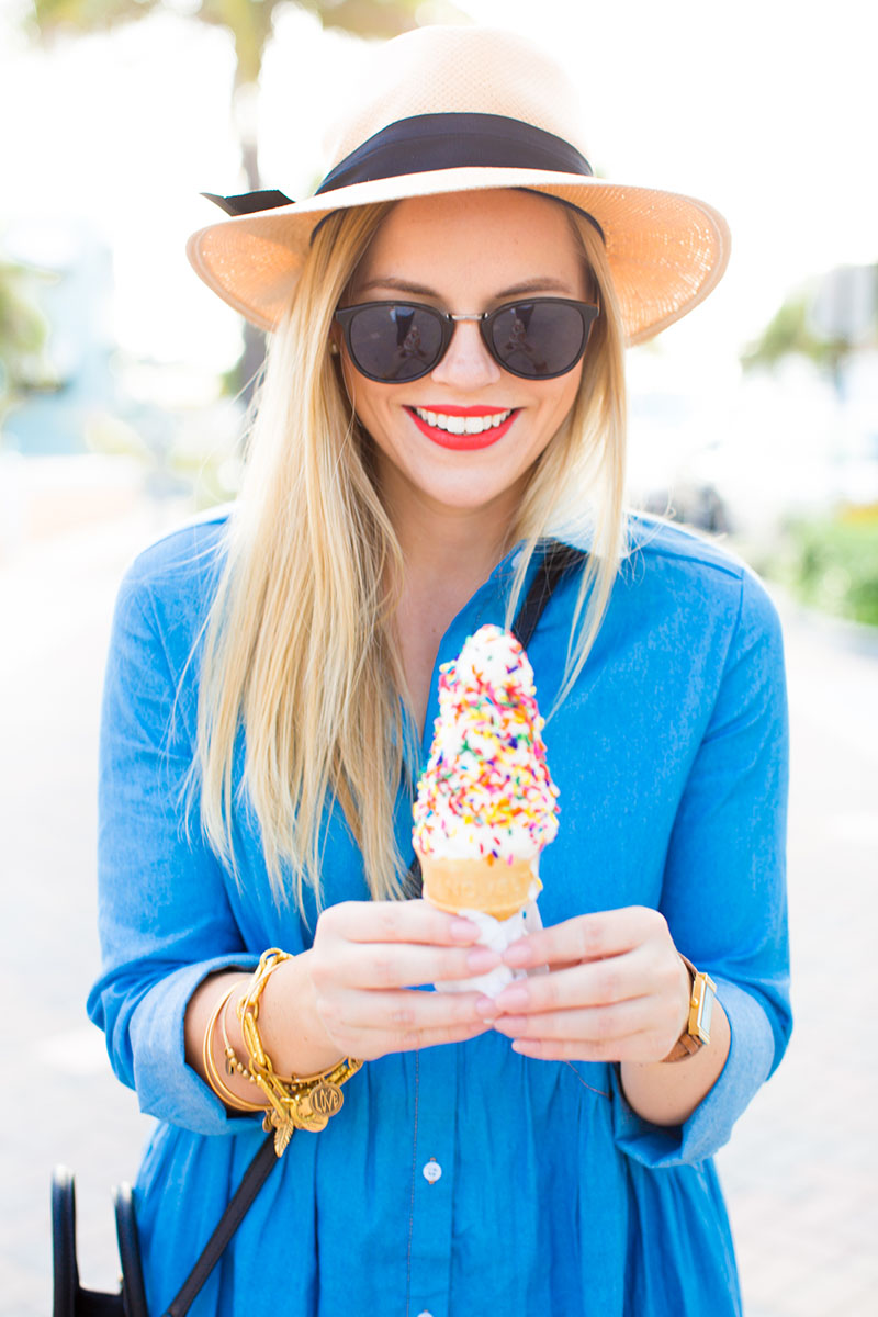 Denim Sundress, ice cream in spring, ice cream on the boardwalk