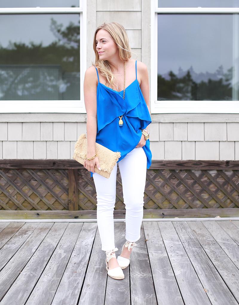 karen kane blue blouse