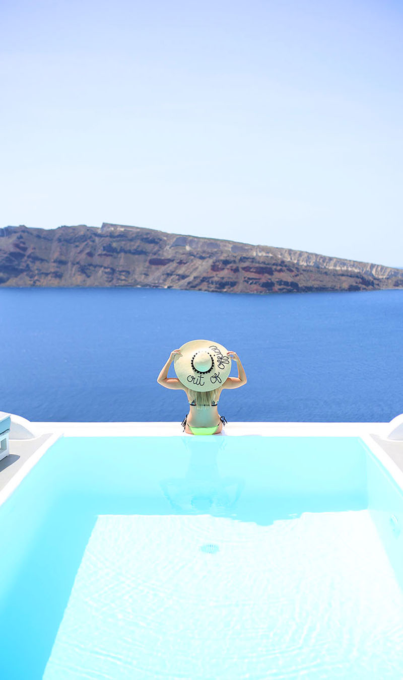 Poolside in Oia, Santorini, Out of Office Sun Hat