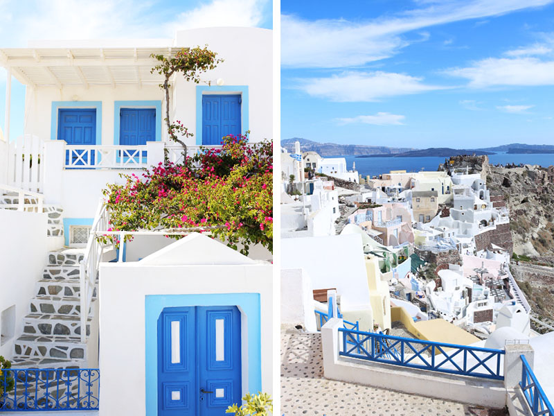 views of oia, santorini, greece