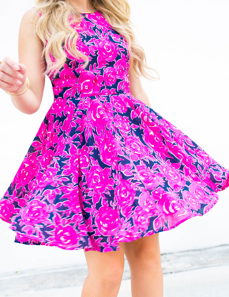 Maison Jules Hot Pink + Navy Floral Dress fit & flare