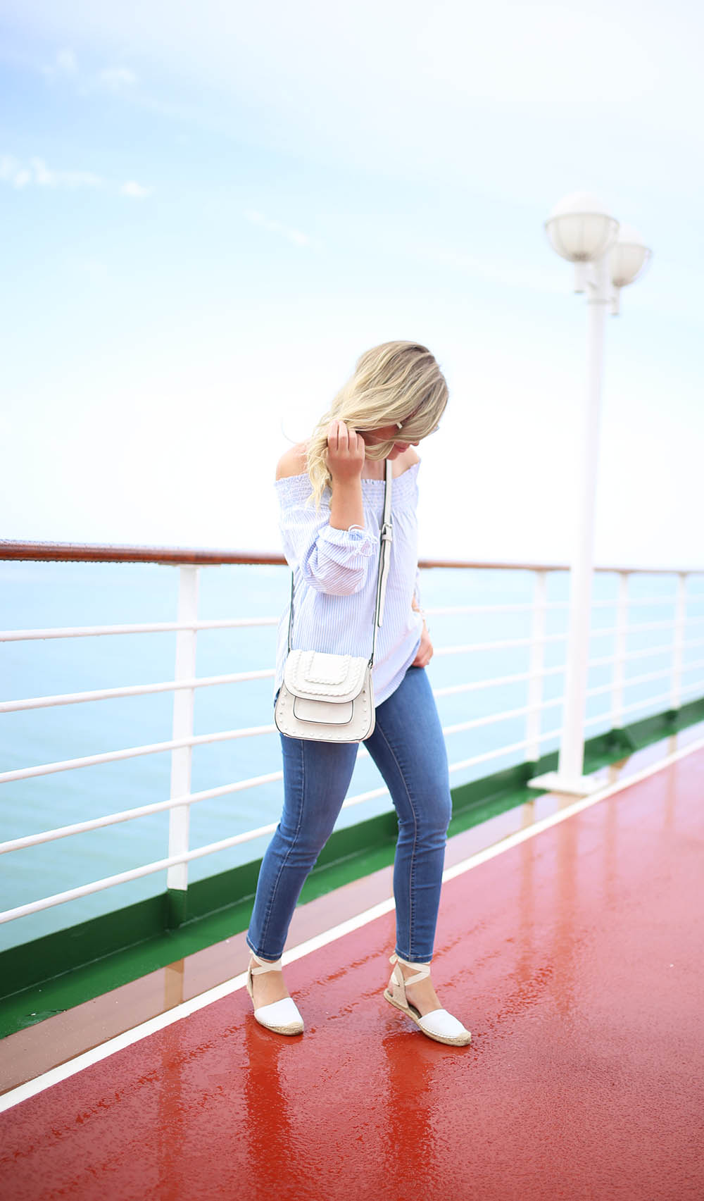 NYDJ Cool Jeans, Pinstripe Off-The-Shoulder Top + White Espadrilles