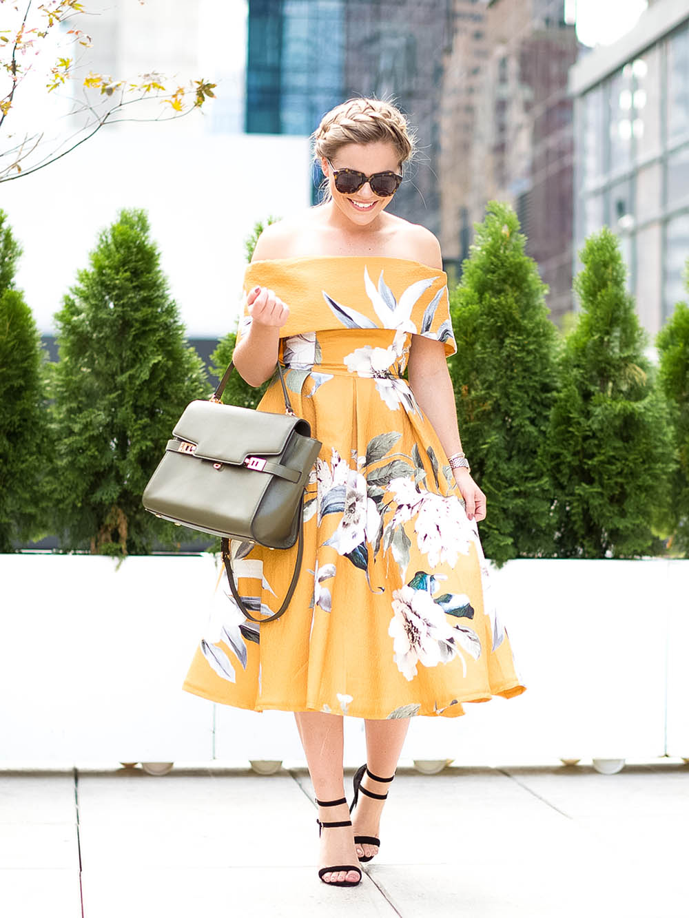 Off the Shoulder Mustard Floral Print Dress