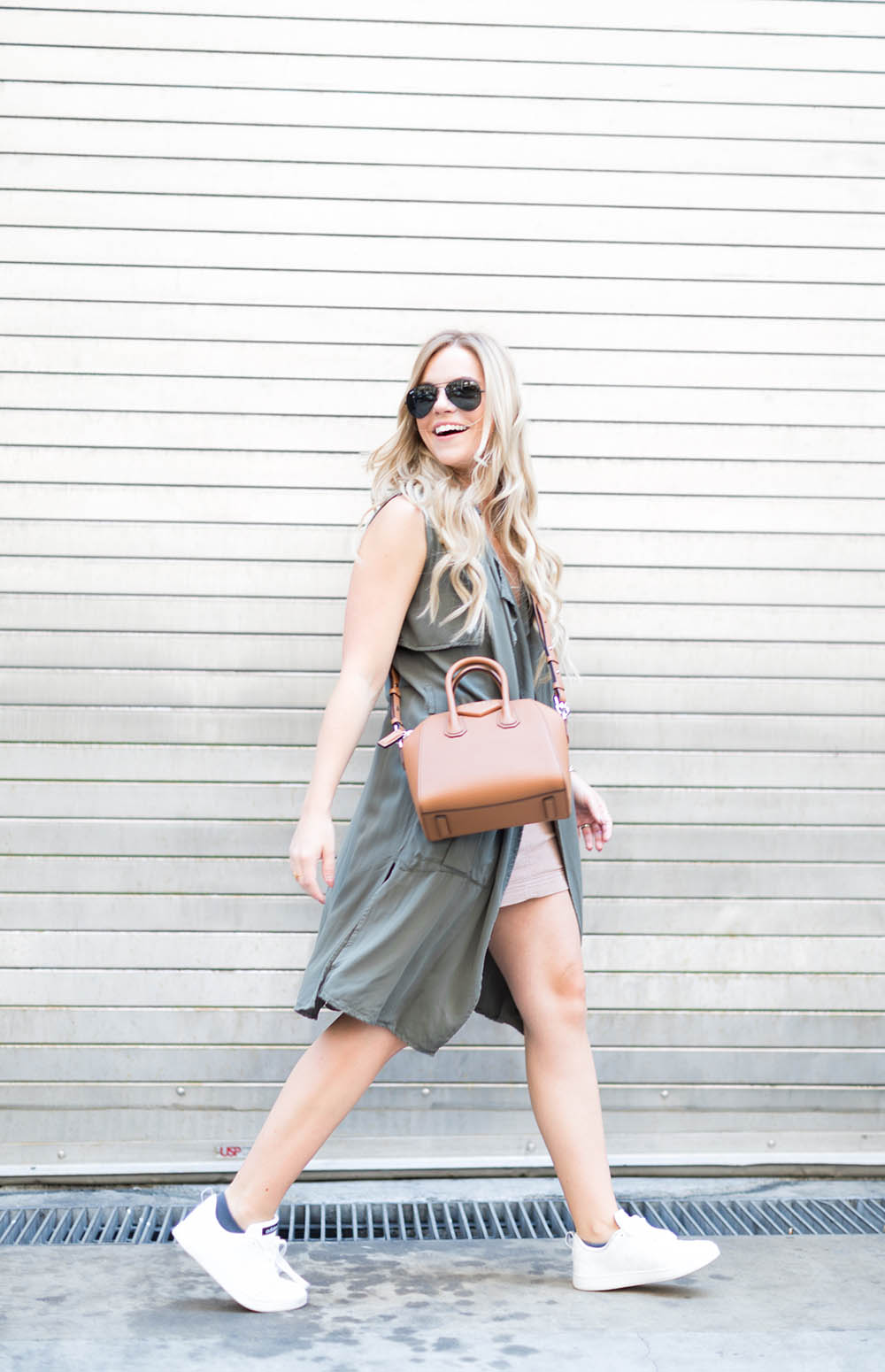 Nude Skirt + Olive Duster