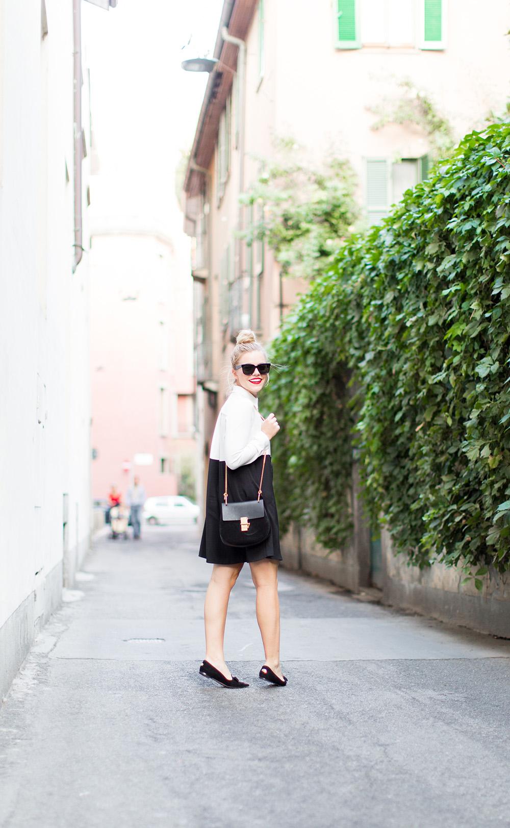 Black + White Shirt Dress