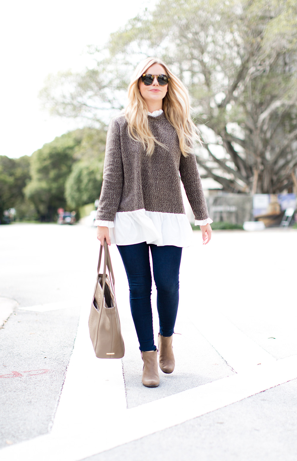 Brown Ruffle Sweater