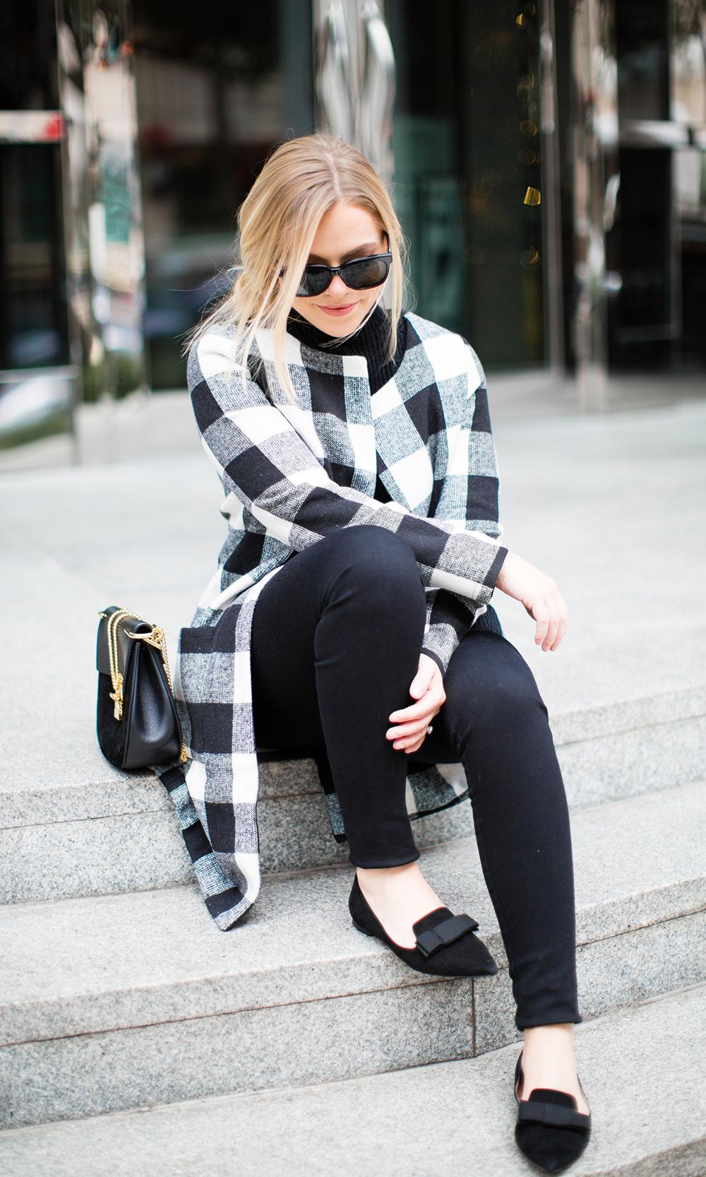 Black + White Checkered Jacket