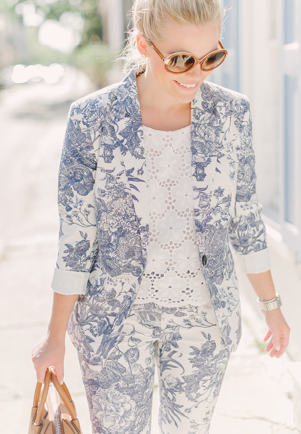 Blue Botanical Floral Suit