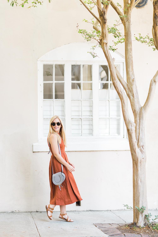 Button Front Rust Dress