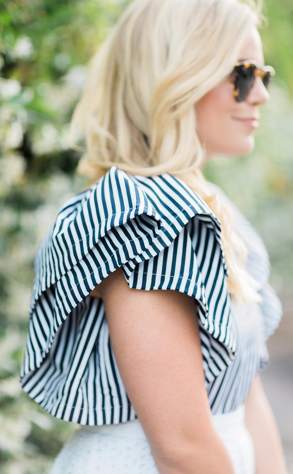 White Eyelet Skirt + Navy Ruffle Top