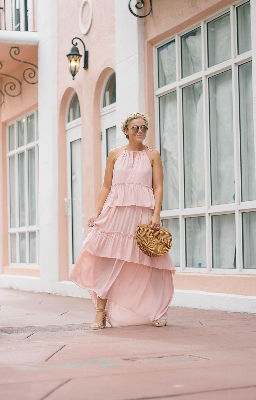 LOFT Blush Tiered Maxi Dress