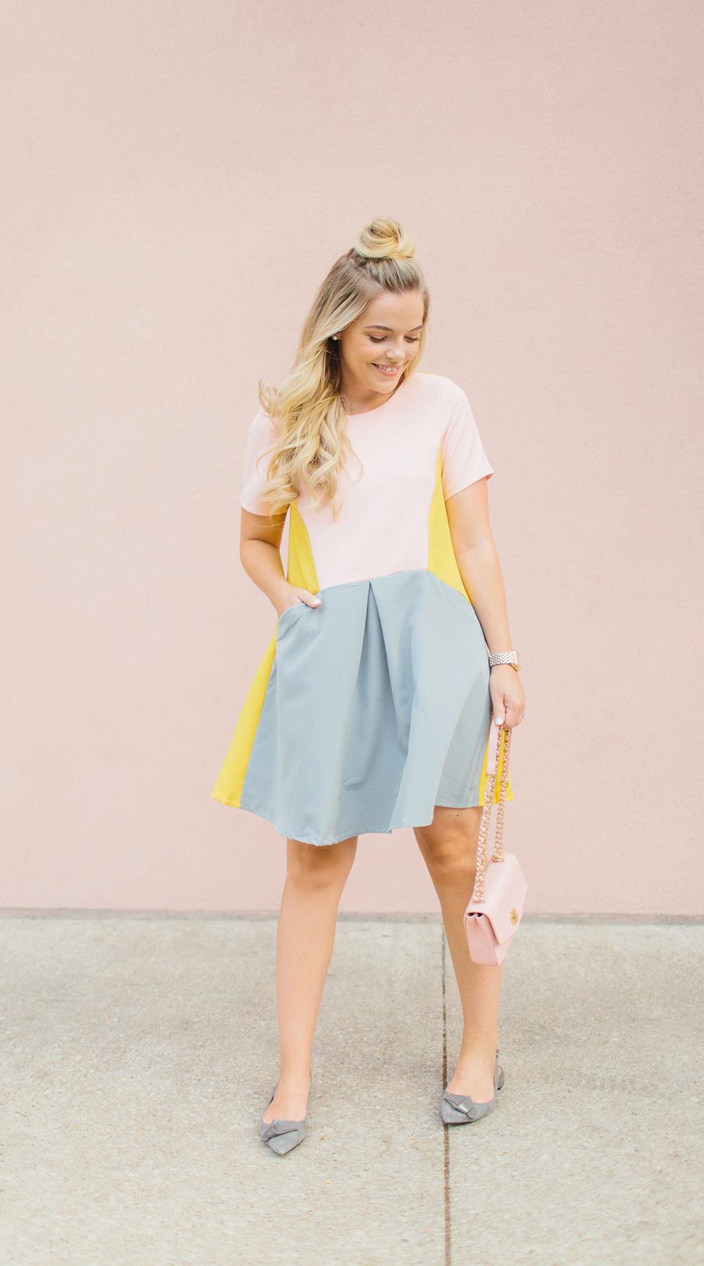 Modern Pink Color-Block Summer Dress