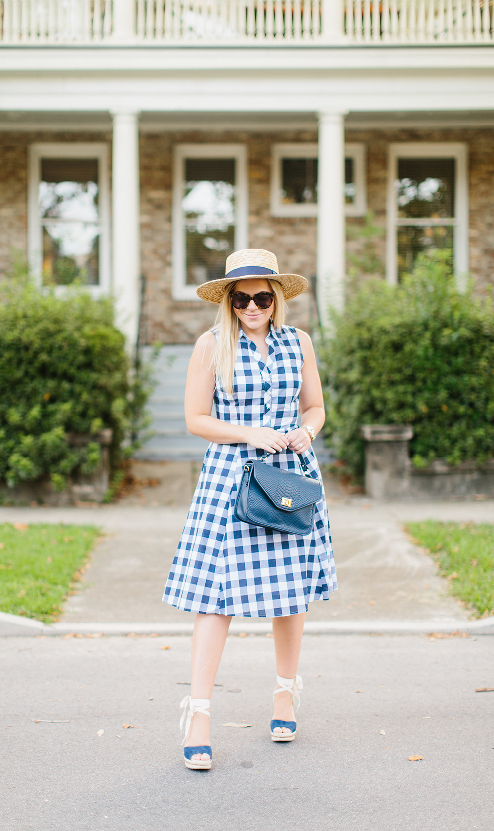 Navy Gingham Fit + Flare