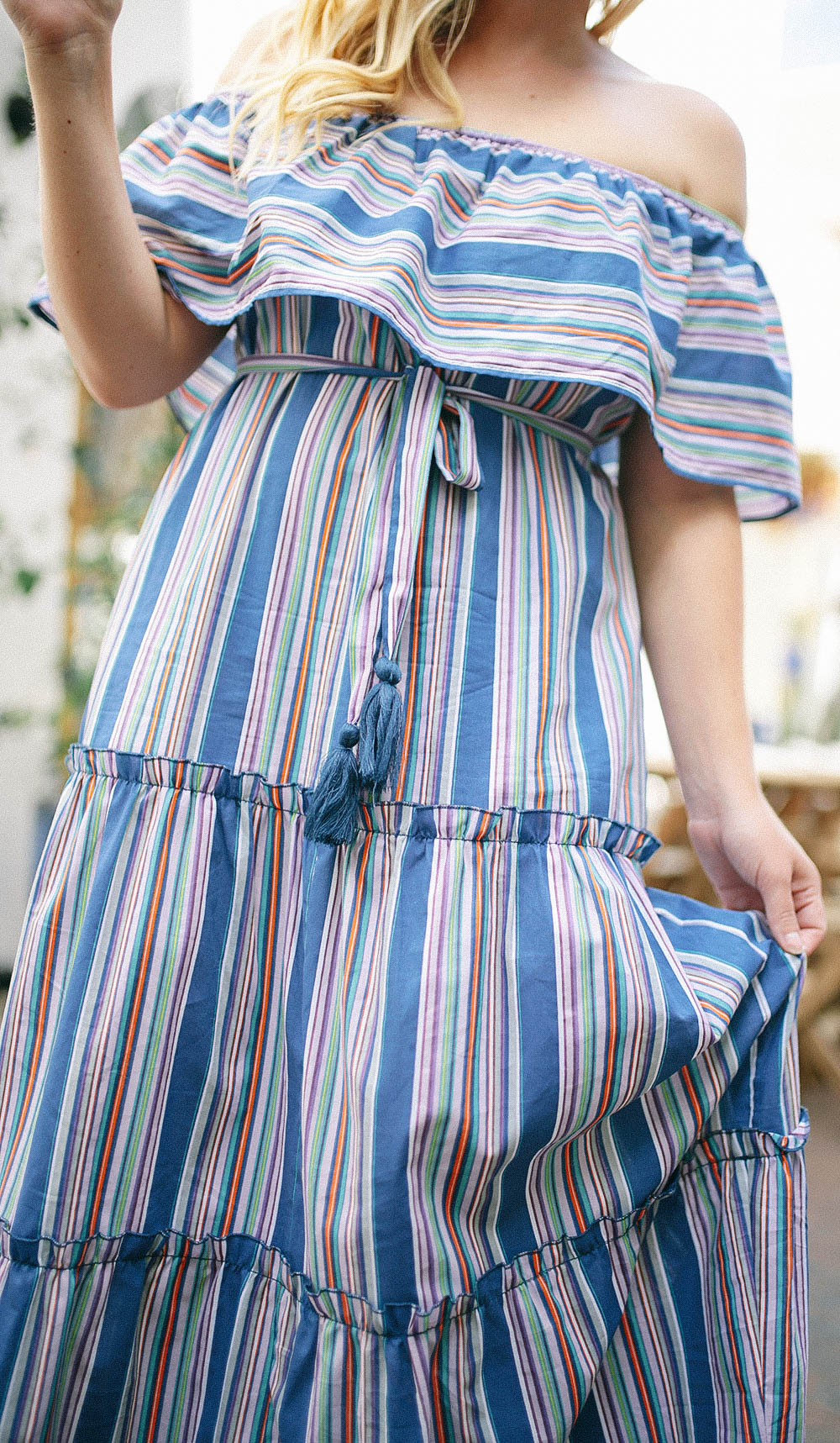 Blue Vertical Stripe Maxi Dress