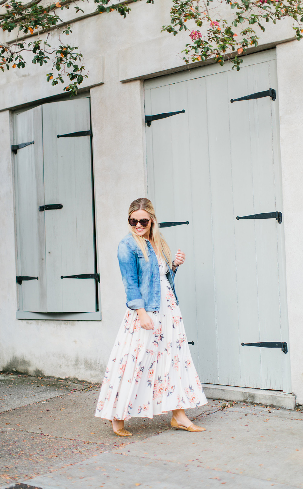 Summer Dress Transitioned to Fall with Denim Jacket