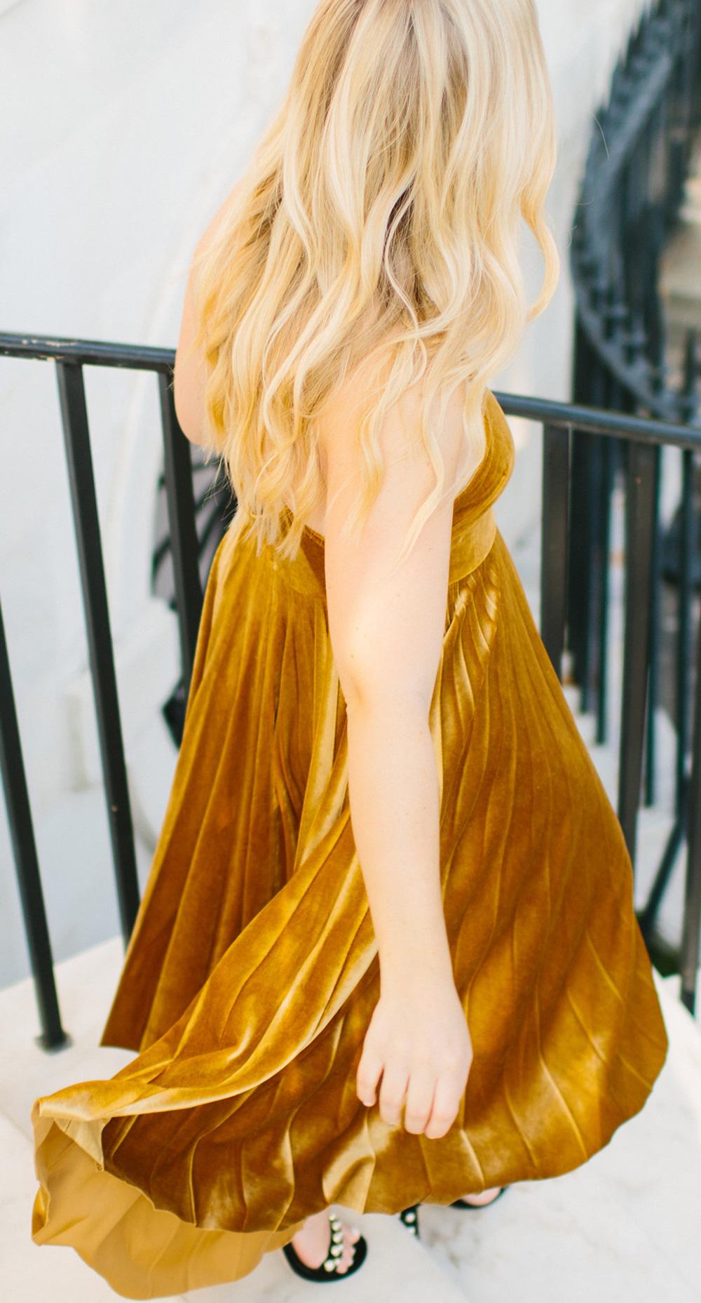Marigold Velvet Dress