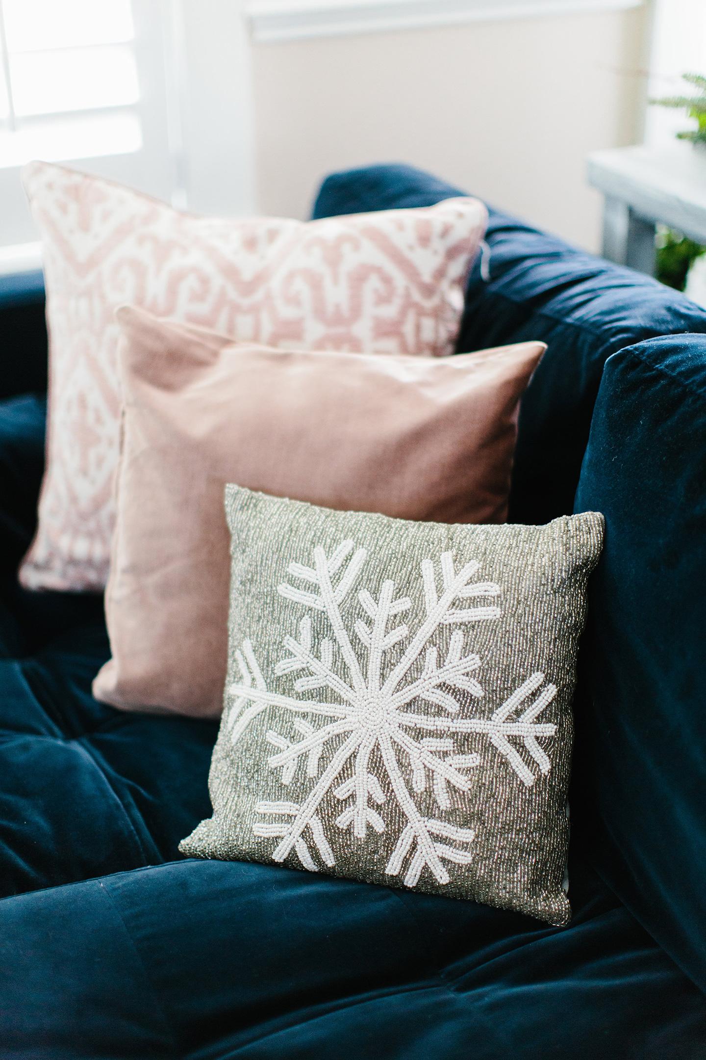 Beaded Snowflake Pillow