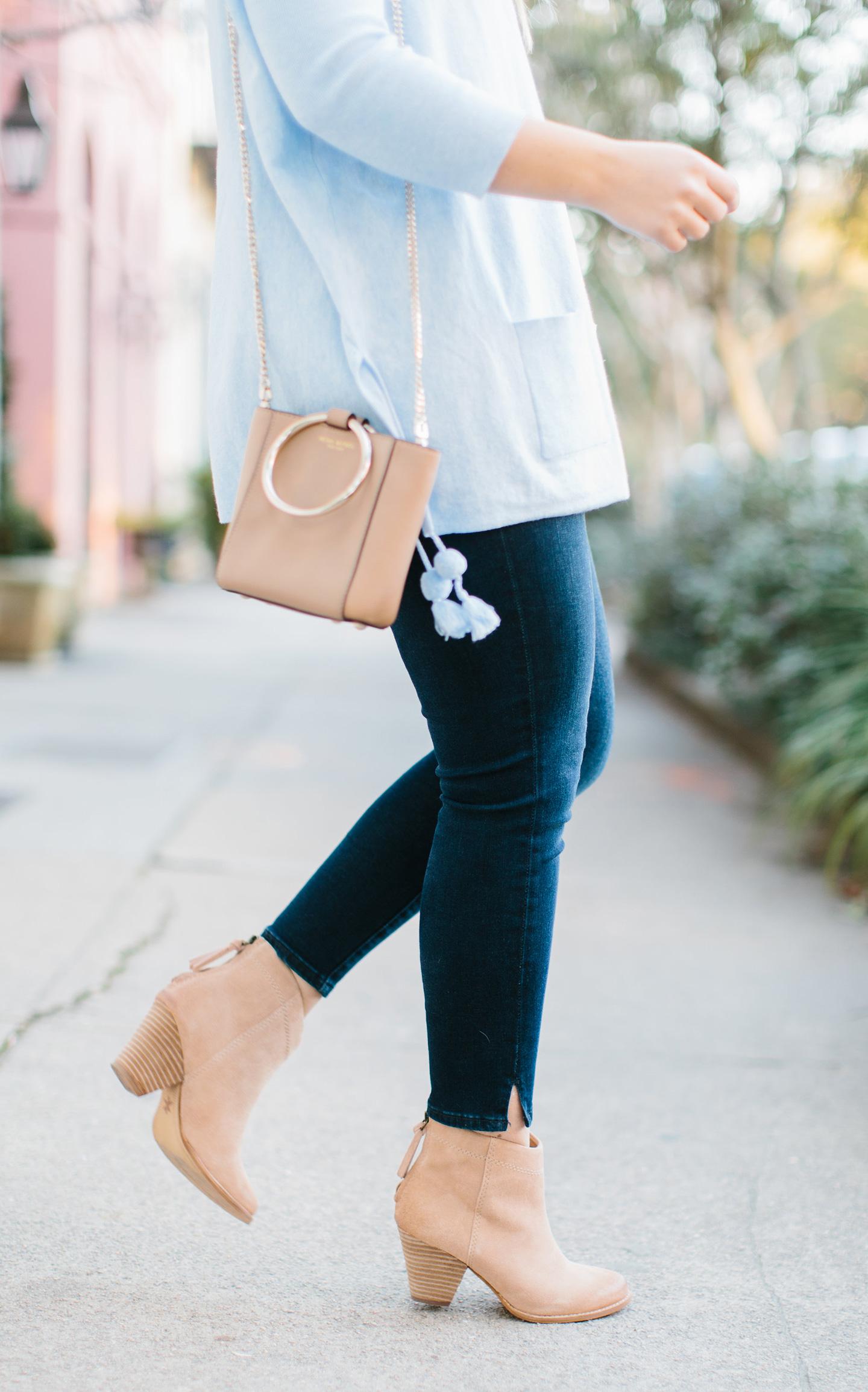 Pale Blue Pom Sweater