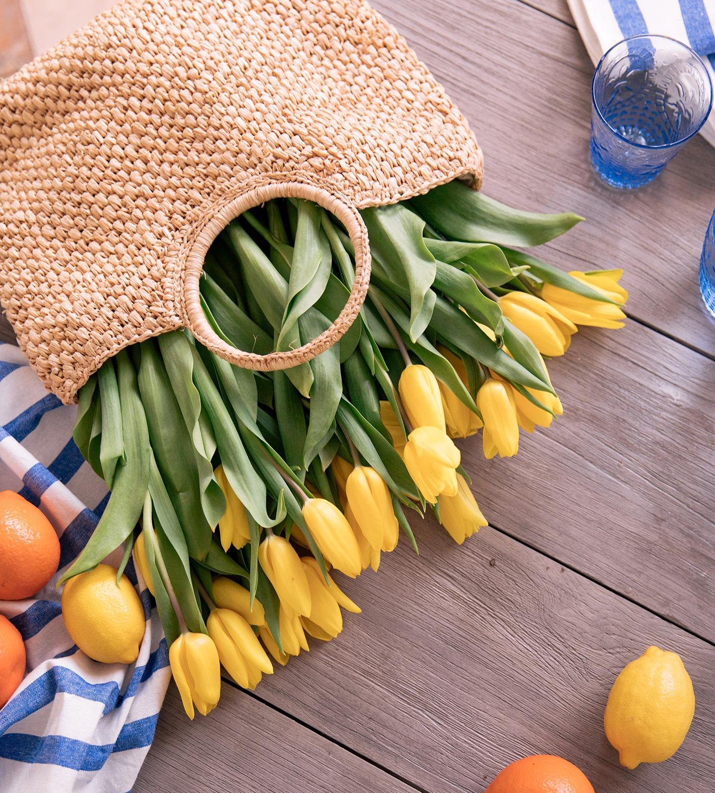 Basket of Yellow Tulips