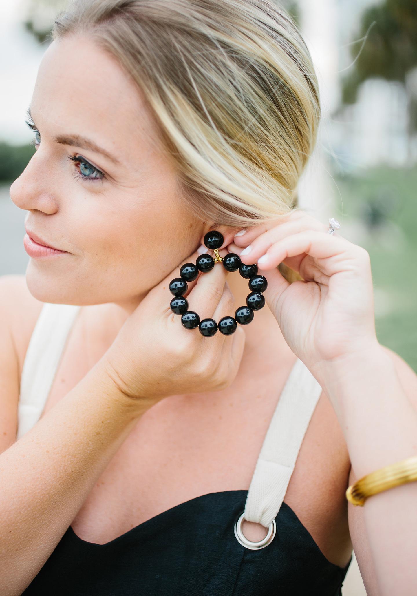 Black Resin Beaded Hoop Earrings