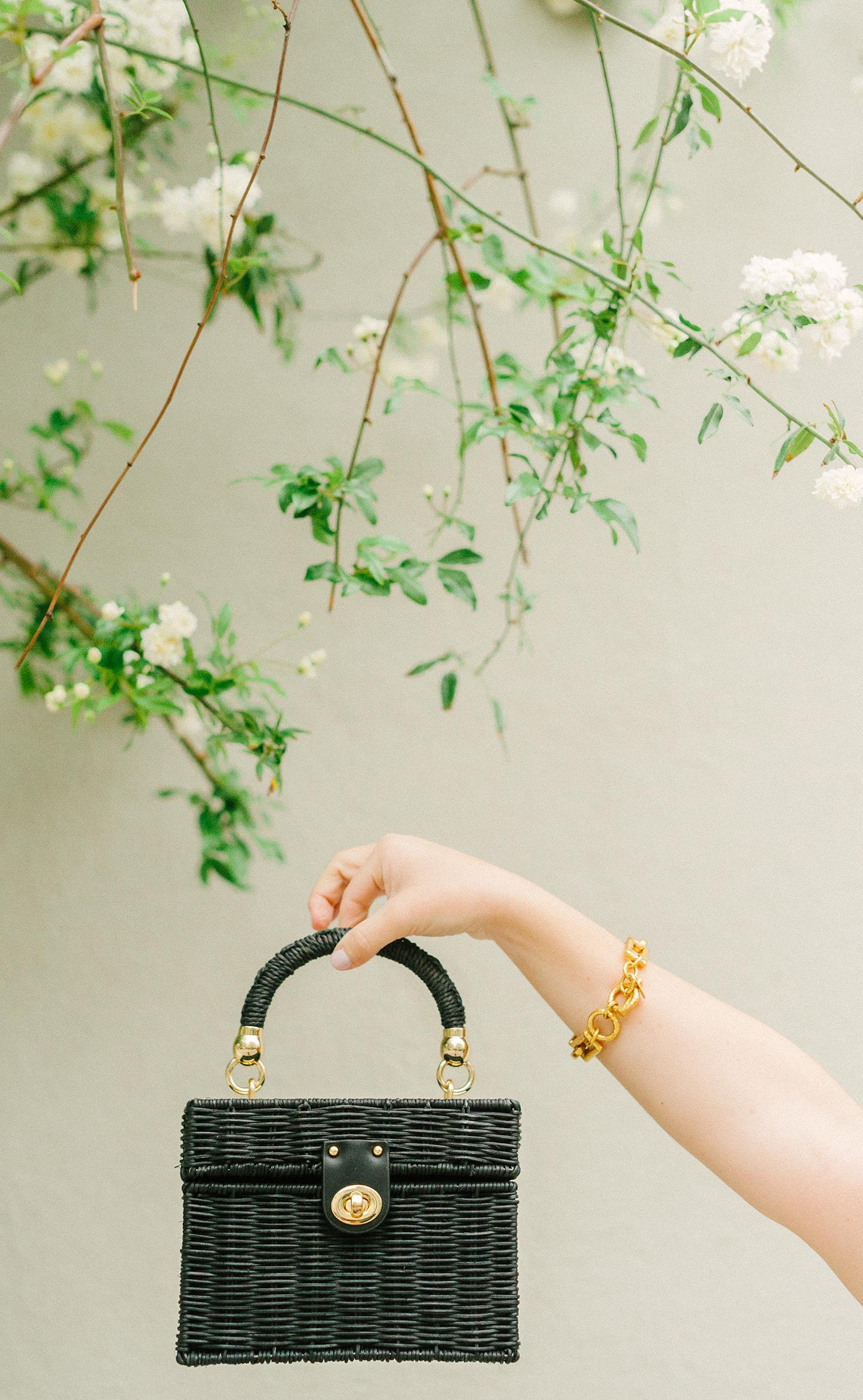Black Straw Top Handle Bag
