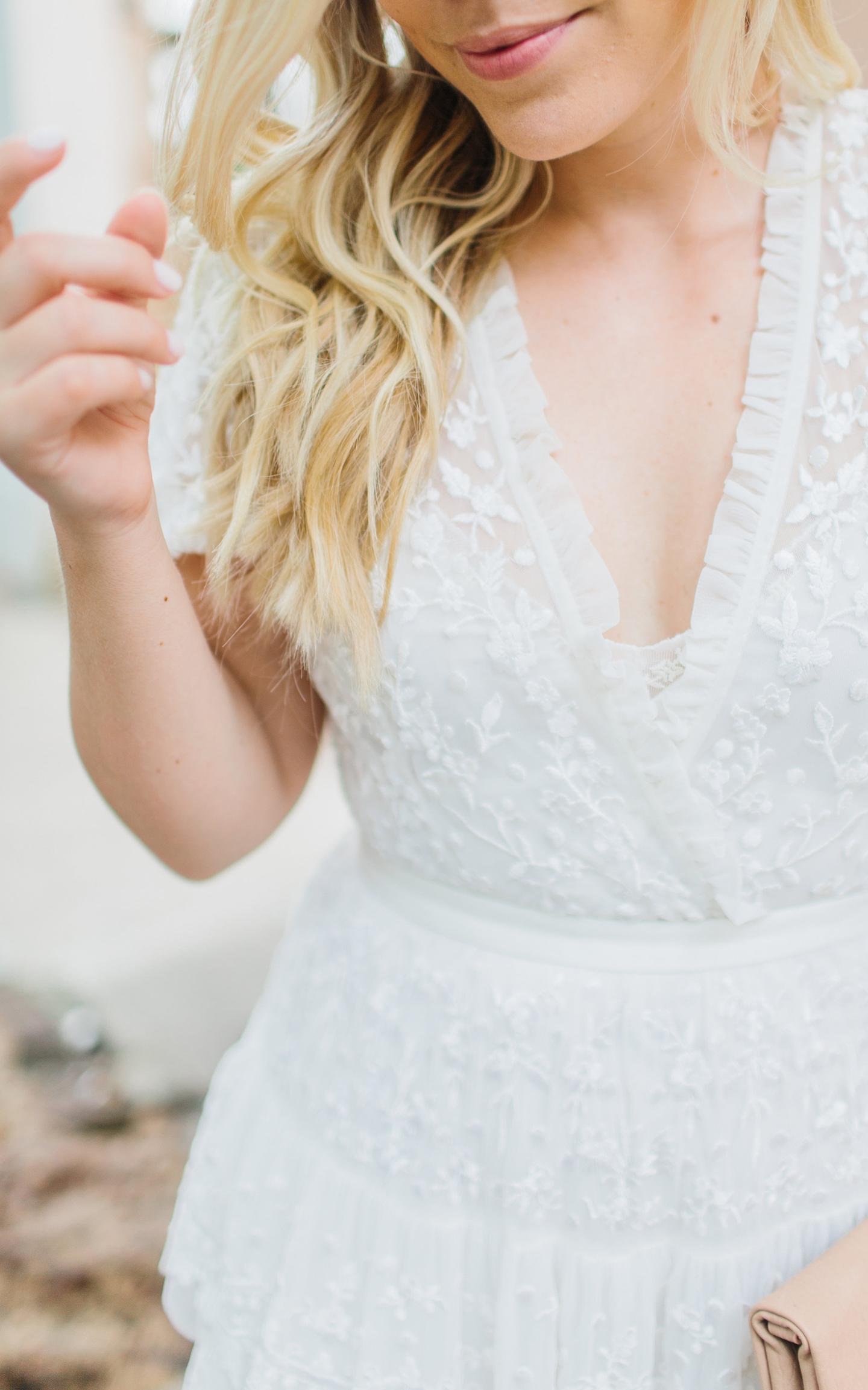 Ivory Embroidered Needle & Thread Dress