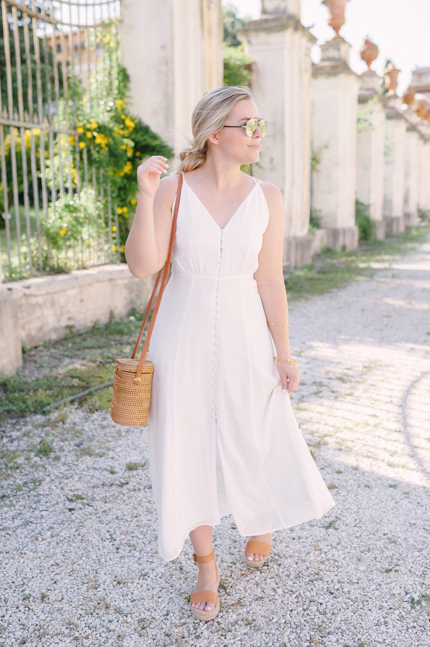 Roaming Around Rome in White Button Up Midi Dress