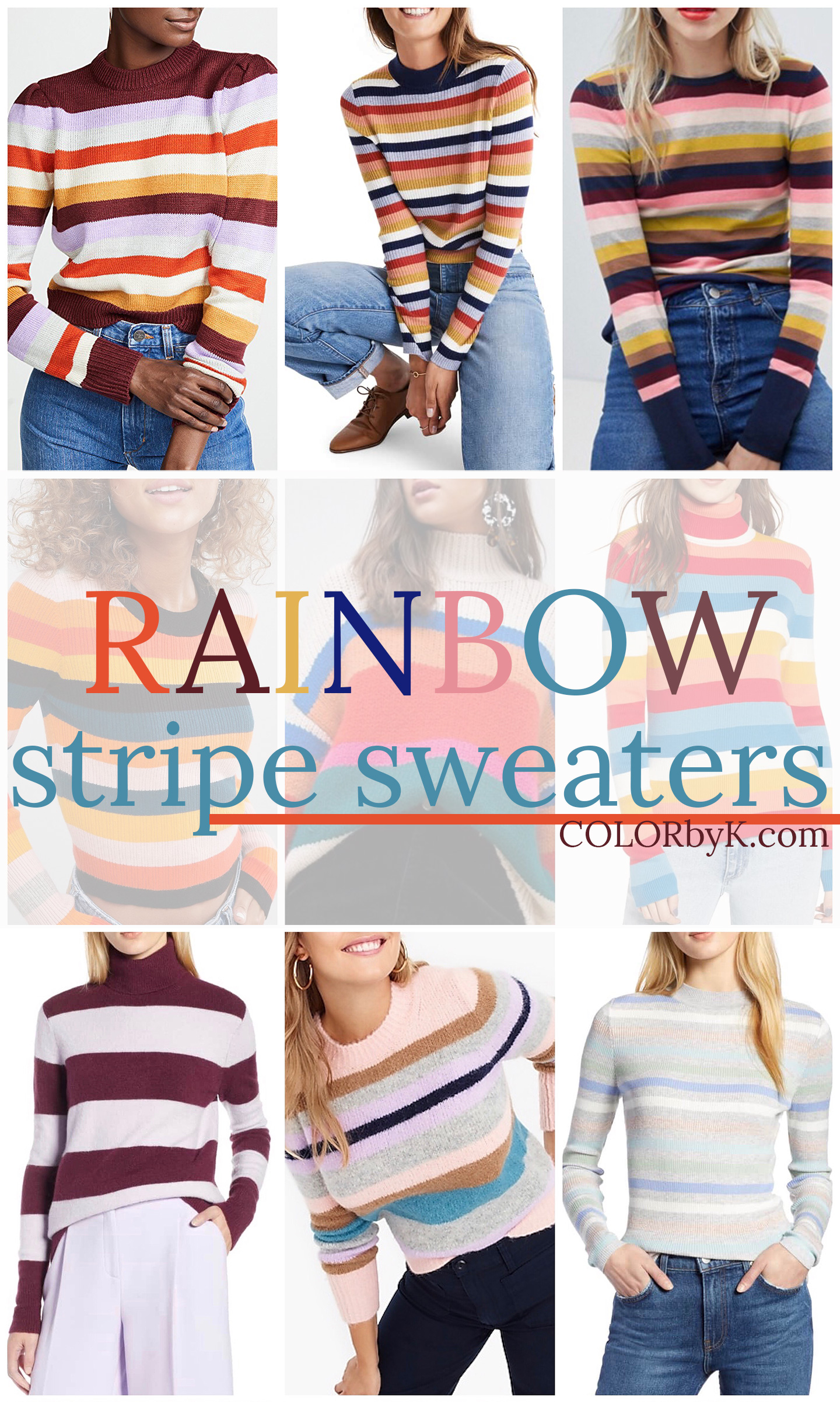 Rainbow Stripe Sweaters for Fall | COLOR by K