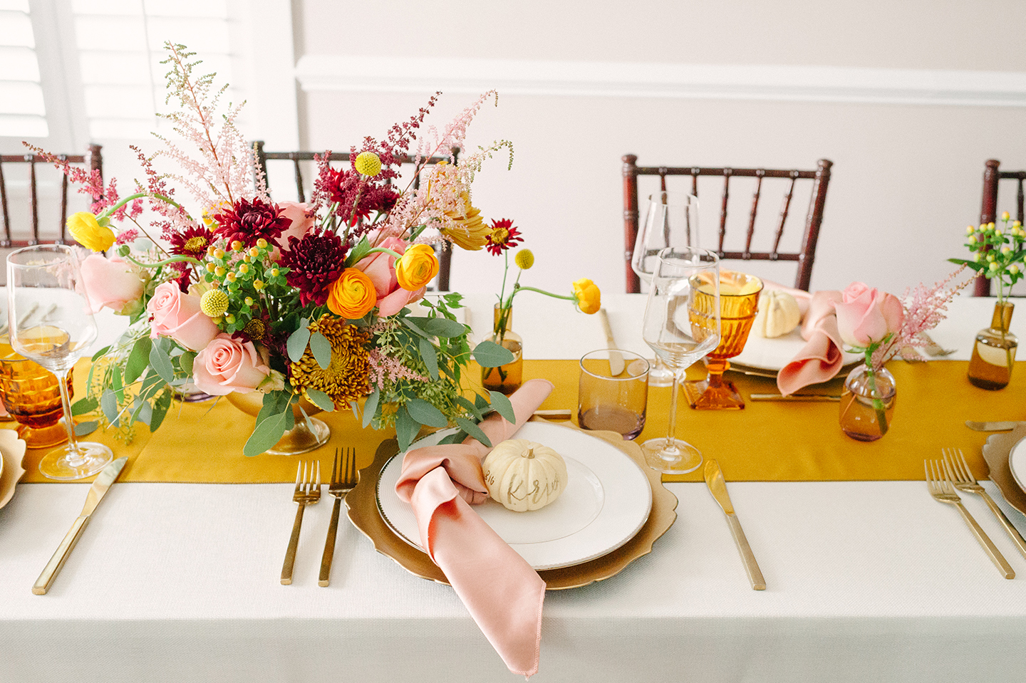 Mauve + Mustard Thanksgiving Tablescape | COLOR by K