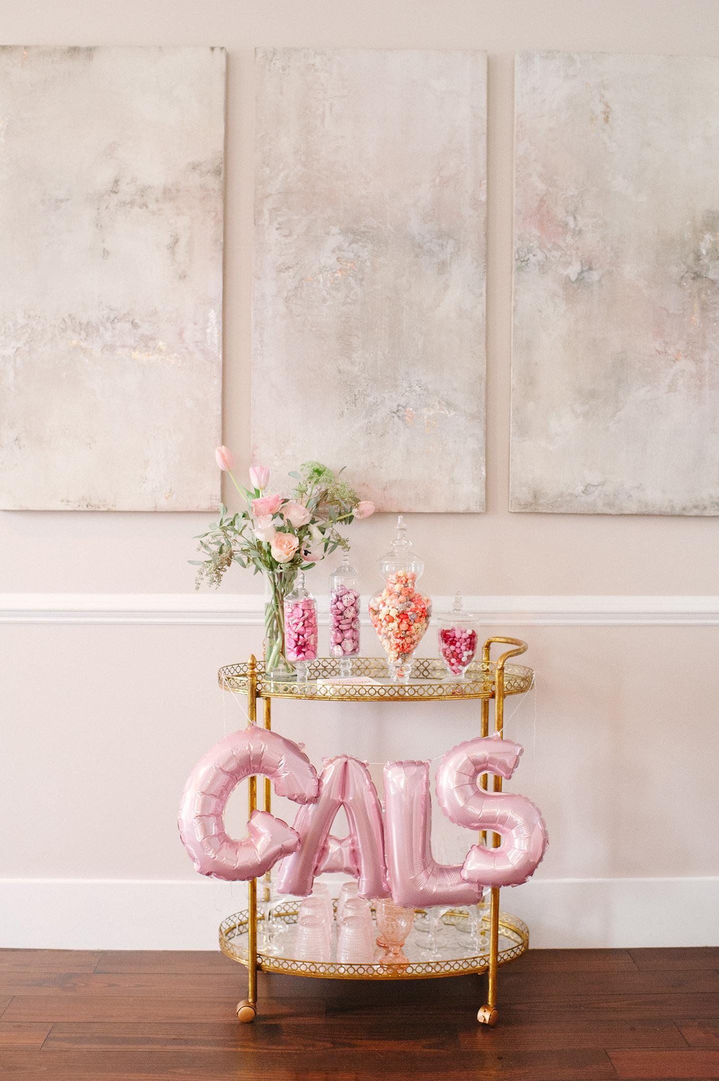 Galentines Brunch Candy Bar Cart