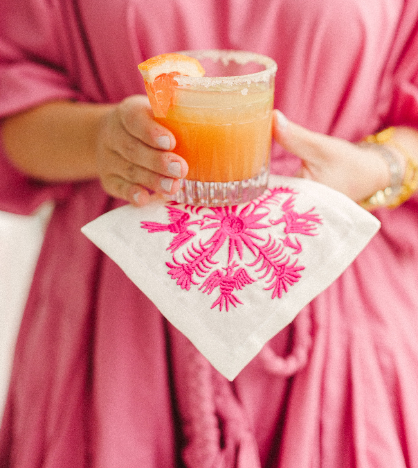 Margarita + Embroidered Napkin