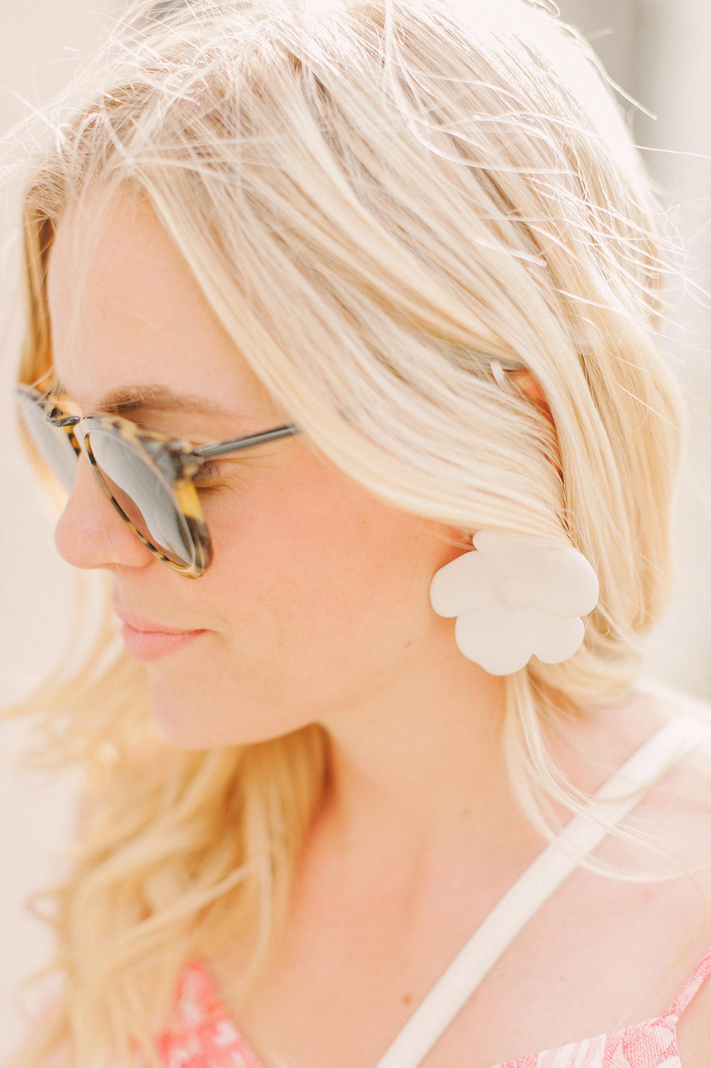 Oversized White Flower Earrings