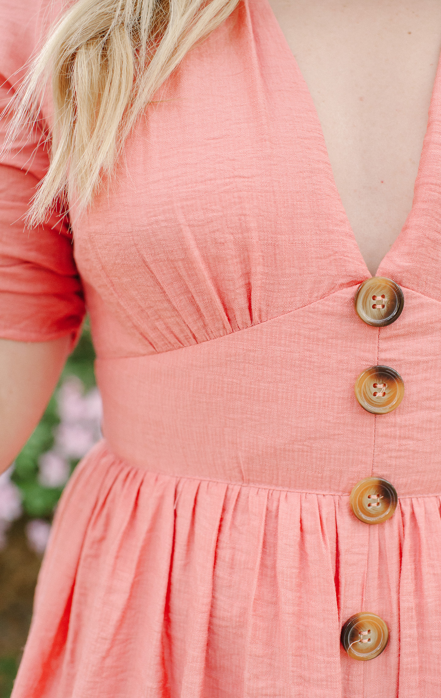 Button Front Coral Dress